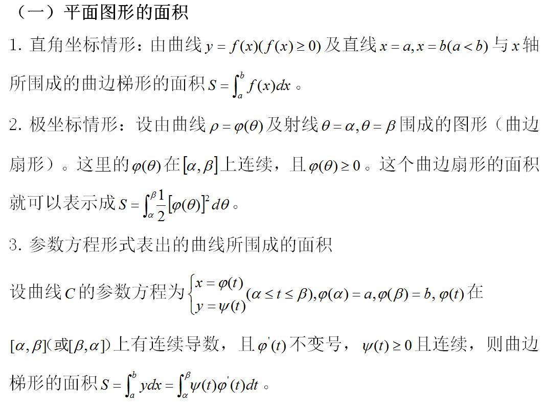 2019考研数学:定积分的几何应用公式总结